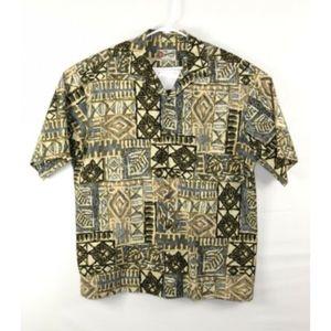 Hilo Hattie Hawaiian Shirt Brown Blue Hawaii